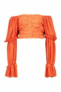 Womens Woven Ruffle Blouson Sleeve Blouse - orange - 6, Orange