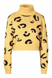 Womens Leopard Print Roll Neck Crop Jumper - beige - M/L, Beige