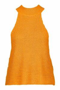 Womens High Neck Knitted Top - Orange - Xl, Orange