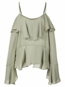 Nicole Miller ruffled off shoulder blouse - Grey