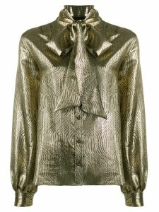 Saint Laurent Metallic Pussy-bow Blouse