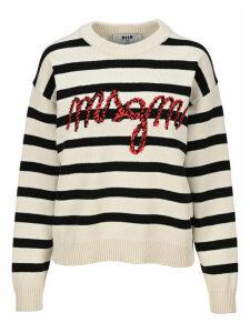 Msgm Knit Logo Striped Sweater