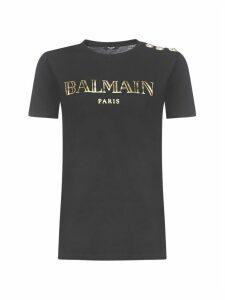 Balmain Ss 3 Btn Metallic Vintage Logo Short Sleeve T-shirt