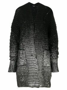 Diesel foil print chunky knit cardigan - Black