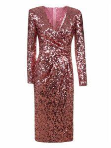Dolce & Gabbana Metallic Gathered Slim Dress
