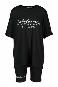 Womens California Print Crew Neck Tee & Cycling Short - black - 14, Black