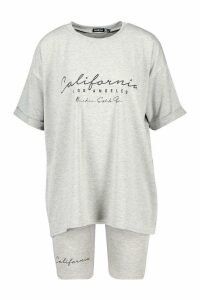 Womens California Print Crew Neck Tee & Cycling Short - Grey - 8, Grey