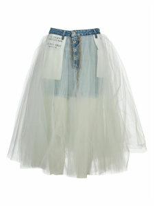 Unravel Tulle Layered Denim Skirt