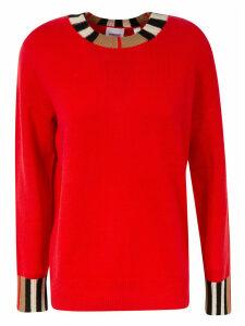 Burberry Striped Hem And Collar Sweatshirt