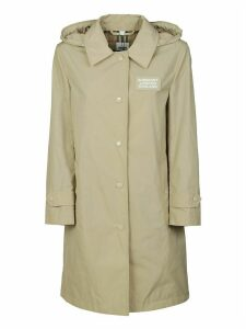 Burberry Logo Patched Hooded Coat