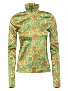 MarquesAlmeida Floral Motif High Neck Top