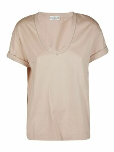 Brunello Cucinelli Nude Pink Cotton T-shirt