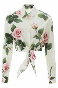 Dolce & Gabbana Tropical Rose Tie Waist Shirt