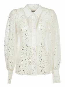 MSGM White And Silver Silk Shirt