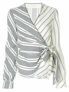 Jonathan Simkhai Multimedia stripe wrap-around top - White
