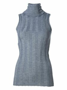 Derek Lam Elle Ribbed Sleeveless Turtleneck - Grey