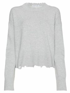 Helmut Lang distressed knit cotton jumper - Grey