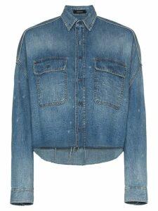 R13 cropped denim shirt - Blue