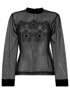 Comme Des Garçons Noir Kei Ninomiya long-sleeve sheer top - Black
