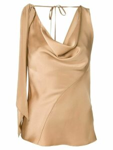 Roberto Cavalli sleeveless draped top - NEUTRALS