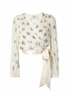 Temperley London Starlet sequin wrap blouse - NEUTRALS