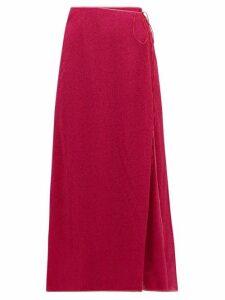 Oséree - Lumière Lamé Wrap Skirt - Womens - Dark Pink