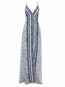 On The Island By Marios Schwab - El Palmar Leopard-print Silk-chiffon Maxi Dress - Womens - Navy Print