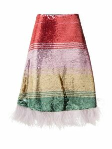 La DoubleJ - Feather-trimmed Sequinned Skirt - Womens - Pink Multi