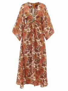 Dodo Bar Or - Shelly Cut-out Floral-print Dress - Womens - Brown Print