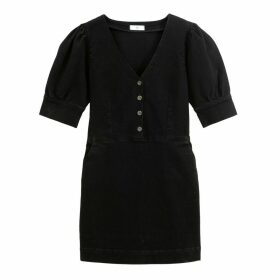 Cotton Short Shift Dress with Short Sleeves