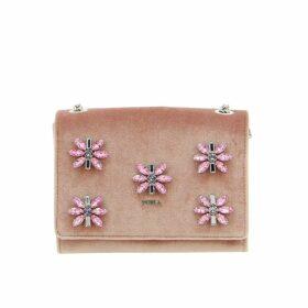 Furla Mini Bag Furla Velvet Bag With Rhinestone Floral Applications