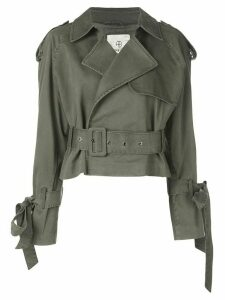 ANINE BING aria cropped trench jacket - Green