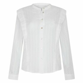 Cotton Broderie Anglaise Blouse with Ruffles