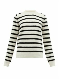 Saint Laurent - Boat-neck Striped Wool Sweater - Womens - White Black