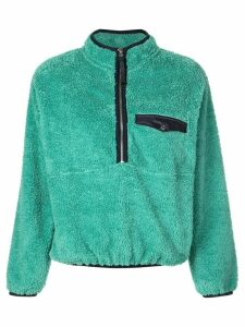 ANINE BING fur henley sweatshirt - Green