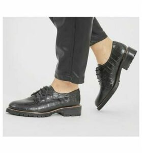 Office Kennedy BLACK CROC LEATHER WITH HEEL CLIP