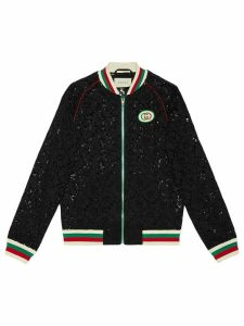 Gucci floral lace bomber jacket - Black