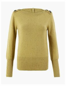 Per Una Cotton Boat Neck Long Sleeve Jumper