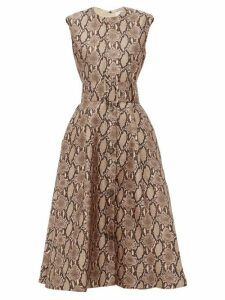 MSGM - Belted Snake-print Satin Dress - Womens - Beige Multi