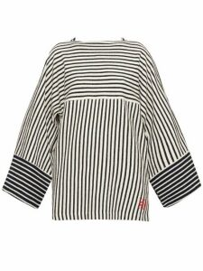 Loewe - Striped Wide-sleeve Cotton-terry T-shirt - Womens - Navy Stripe