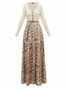 Altuzarra - Pollie Belted Snakeskin-print Maxi Dress - Womens - Ivory