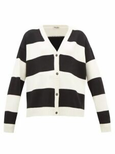 Miu Miu - Cat-embroidered Striped Wool Cardigan - Womens - Black White