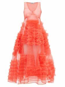 Molly Goddard - Whitney Ruffled Tulle Dress - Womens - Pink