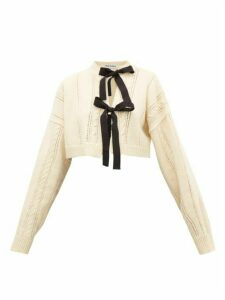 Molly Goddard - Venetia Bow-front Cropped Wool Cardigan - Womens - Cream