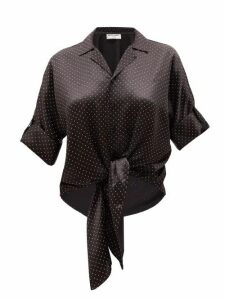 Saint Laurent - Knotted-front Studded Silk-satin Blouse - Womens - Black
