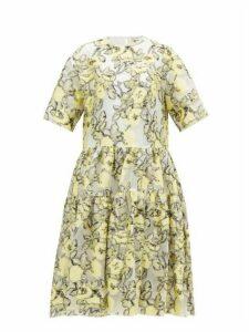 Cecilie Bahnsen - Elliemay Tie-back Floral Fil-coupé Organza Dress - Womens - White Multi