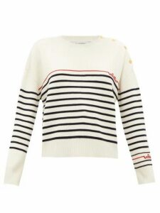Valentino - Logo-bead Stripe-knit Wool Sweater - Womens - Ivory Multi