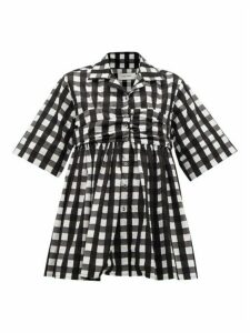 Marques'almeida - Gingham-check Ruched-panel Cotton Shirt - Womens - Black White