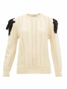 Molly Goddard - Blanche Bow-shoulder Cable-knit Wool Sweater - Womens - Cream