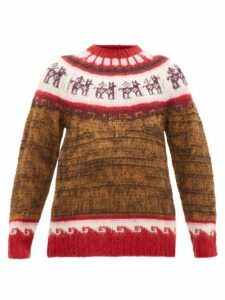 Miu Miu - Alpaca-jacquard Sweater - Womens - Brown Multi